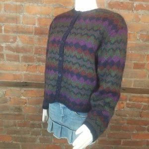 VTG Women's Sweater Cardigan Fuzzy Mohair Blend